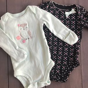2 Infant Long Sleeve Onesies